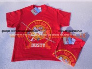 T-SHIRT MAGLIA PLANES MANICA CORTA  , COLOR ROSSA DISNEY PLANES THE BIG BOSS DUSTY