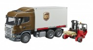 Scania R-Series Camion UPS portacontainer con muletto Bruder 03581