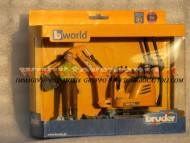 Bruder bworld JCB Micro escavatore 8010 CTS con figura personaggio omino con pantalone marrone , altri modelli con lo stesso codice         [ cod 62002 ]