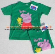 !!!t shirt peppa pig !!!! MAGLIETTA DI PEPPA PIG CON ORSACHIOTTO DI COLOR GREEN , T-SHIRT DI PEPPA PIG CON ORSACCHIOTTO DI COLOR VERDE , COD 8994A