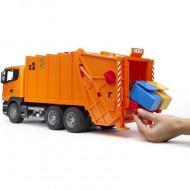 BRUDER Camion Trasporto Rifiuti Scania R Arancione.BRUDER - CAMION SCANIA TRASPORTO RIFIUTI CARICO POSTERIORE COD 03560