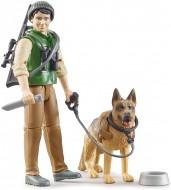 Bruder bWorld personaggio guardia forestale con cane ed equipaggiamento 62660