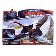 Spinmaster - Dragons trainer 6019879 - Toothless sdentato Sputafuoco Gigante   Deluxe Night Strike Toothless se metti l'acqua emette fumo blu