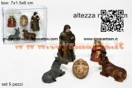 mini natività per presepe di natale box 5 pezzi di 3 cm in pvc prezzo 1 blister 76847