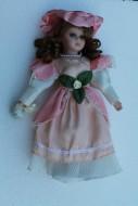bambola in porcellana 30 cm circa con piedistallo