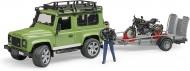 Bruder 02598- Land Rover Defender con rimorchio, Moto Scrambler Ducati Cafe e Personaggio