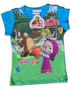 MASHA E ORSO Maglietta T-SHIRT bambina 7 anni art.st13 blu