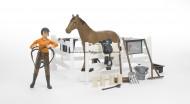 Bruder bworld personaggio, cavallo con accessori e recinto [cod 62500]
