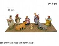 SET NATIVITA' statuine da presepe in plastica 10 cm - 8 pezzi - 1 scatola assortita - versione economia ADATTAPER PRESEPE DA RIVENDERE 8033113004766