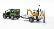 !!!! New !!! Bruder Land Rover Defender con rimorchio JCB Micro escavatore con personaggi ,omini [ cod 02593 ]