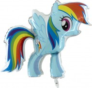 Pallone My Little Pony-Rainbow Dash - sgonfi gonfiabili a aria o elio - completo di corda da legare una volta gonfiato