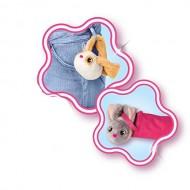 Imc Toys Bunnies Coppia Peluche Magnetico Coniglietto Bianco con Musetto Grigio e Bianco con macchie Marroni