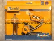 Bruder bworld JCB Dumpster HTD-5 con figuraomino , personaggio camicia marrone , cariola con cingoli , altri modelli con lo stesso codice [ cod 62004 ]