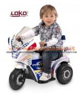 Moto a batteria della polizia, tribike police batteria 6v velocità km2 cod 99079 (adatto a bambini 1-2 anni)