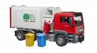 Bruder 03761 Camion Man TGS Trasporto Rifiuti caricamento laterale con 2 bidoni