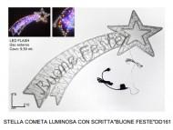 NOVITA' MAXI STELLA COMETA NATALIZIA A LED CON SCRITTA ( BUONA FESTE ) USO ESTERNO / INTERNO TELAIO IN METALLO CM 210 X 75