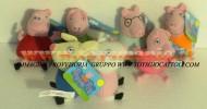 PEPPA PIG PELUCHE , OFFERTA 8 PEZZI PEPPA PIG + GEORGE + PAPA' PIG+ MAMMA PIG+ 2 AMICI CONIGLI DI PEPPA PIG E GEORGE + PEPPA PIG + GEORGE CM 15 CIRCA