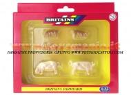 BRITAINS ACCESSORI PER MODELLISMO AGRICOLO ANIMALI SET MAIALI BIANCHI SCALA 1/32 COD 40966