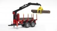!!!! New  !!! Bruder Rimorchio trasporta tronchi  con 4 tronchi e braccio meccanico[ cod 02252 ]