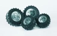 Bruder 03317 ruote per trattori serie 3000 Doppie ruote cerchi argento per PREMIUM-PRO serie 03307 [ cod 03317 ]