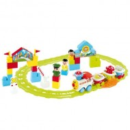 Baby Treno c/Rotaie locomotore+3 vagoni+3figure Eff.sonori   BTR0931 di Bontempi