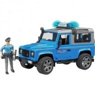 Land Rover Defender Station Wagon Polizia (blu) ,luci e suono e poliziotto Bruder 02597