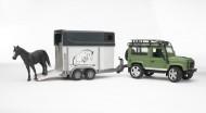 Bruder Land Rover Defender Station Wagoncon rimorchi trasporto 1 cavallo[ cod 02592 ]