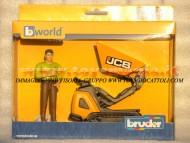 Bruder bworld JCB Dumpster HTD-5 con figura omino ,  cariola con cingoli , personaggio camicia verde ,altri modelli con lo stesso codice [ cod 62004 ]
