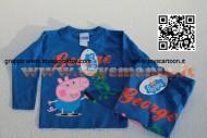 T-shirt Peppa Pig george e il suo dinosauro - Manica lunga colore blu