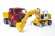 Bruder modello completo in plastica Bruder MAN TGA camion con scavatrice Liebherr [cod 02751 ]