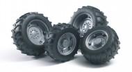 Bruder 02316  Ruote argento per trattori SUPER-PRO serie 02001 [ cod 02316 ]