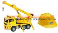 Bruder limited edition camion MAN TGA con Gru 02754 + Bruder elmetto , casco da lavoro cod 10200 , 01973