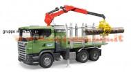 Bruder  03524 Scania R-Series trasporto 3 tronchi con gru[ cod 03524 ]