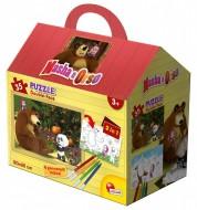 Lisciani - Masha e Orso Puzzle Casetta DOUBLE FACE , 35 Pezzi