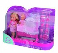 Simba 105736242 - Evi Love, Bambola con bambino, culla e accessori, 2 modelli