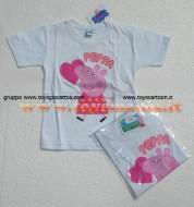!!!t shirt peppa pig !!!! MAGLIETTA DI PEPPA PIG CON CUORE DI COLOR BIANCO , T-SHIRT DI PEPPA PIG CON CUORE DI COLOR WHITE , COD 9434B