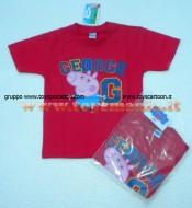 !!!t shirt peppa pig !!!! MAGLIETTA DI PEPPA PIG GEORGE  DI COLORE ROSSA  , T-SHIRT DI PEPPA PIG GEORGE DI COLOR ROSSA , COD 9434B