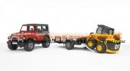 Bruder giocattolo  Jeep Wrangler Unlimited con rimorchio e carrello con bobcat CAT  [ cod 02924 ]