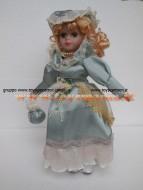 bambola in porcellana 30 cm circa vestito azzurro
