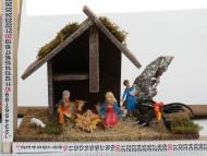 Millenium Christmas presepe  capanna completa di fuoco  in legno cod 10