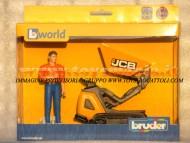 Bruder bworld JCB Dumpster HTD-5 con figura omino , cariola con cingoli , personaggio camicia arancio ,altri modelli con lo stesso codice [ cod 62004 ]
