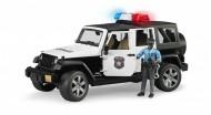 Jeep Wrangler Unlimited Rubicon Polizia con Poliziotto pelle scura Bruder 02527