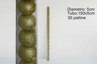 PALLINE DA DECORARE NEGOZI E LABERI DI NATALE TUBO 30 PALLINE GLITTER 5CM ORO   COD 2970